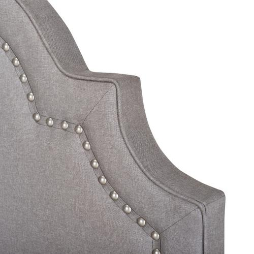 Queen Anne Nailhead Trim Upholstered Twin Bed in Smoke Gray