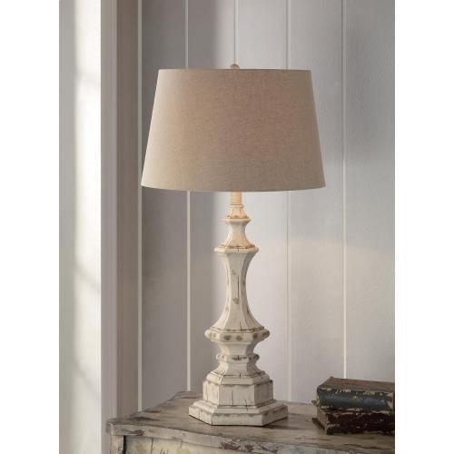 "Wooden Column Table Lamp 34""Ht"