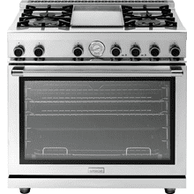 """See Details - Range NEXT 36"""" Panorama Stainless steel 4 gas, griddle and gas oven"""