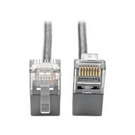 Right-Angle Cat6 Gigabit Snagless Molded Slim UTP Ethernet Cable (RJ45 M/M), Gray, 1 ft.