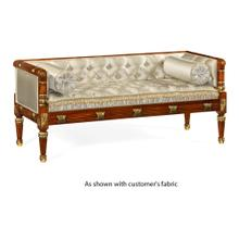 Regency style walnut upholstered settee (COM)