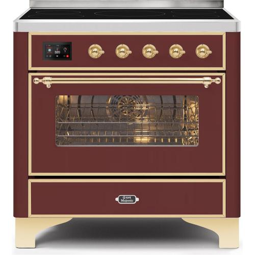 Majestic II 36 Inch Electric Freestanding Range in Burgundy with Brass Trim