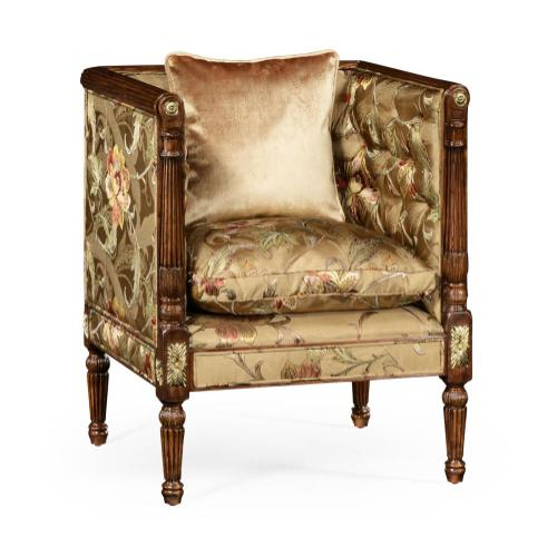 Regency style club chair with brass detailing
