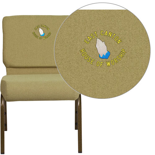 Embroidered HERCULES Series 21'' Extra Wide Moss Green Fabric Stacking Church Chair with 4'' Thick Seat - Gold Vein Frame