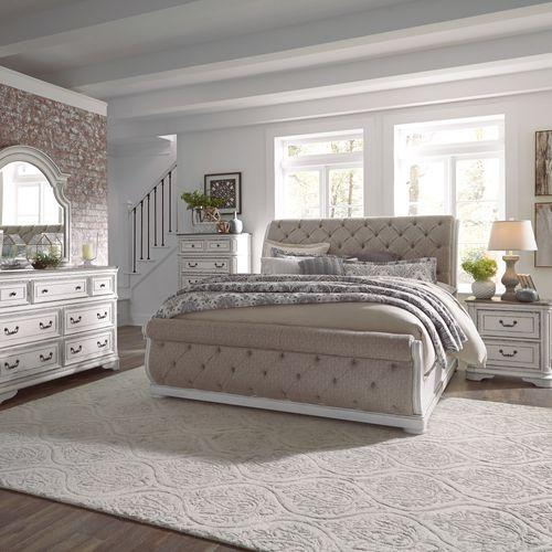 King Uph Sleigh Bed, Dresser & Mirror, Chest, Night Stand