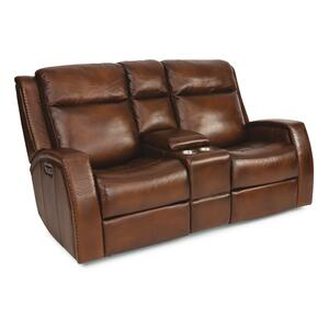 FlexsteelMustang Power Reclining Loveseat with Console and Power Headrests