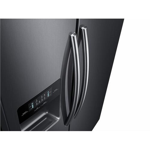 Samsung - 25 cu. ft. Side-by-Side Refrigerator with In-Door Ice Maker in Black Stainless Steel