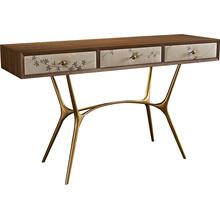 Agnes Console with Leather Drawer Fronts