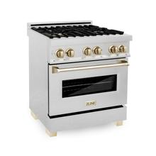 """View Product - ZLINE Autograph Edition 30"""" 4.0 cu. ft. Dual Fuel Range with Gas Stove and Electric Oven in DuraSnow® Stainless Steel with Accents (RASZ-SN-30) [Accent: Gold]"""
