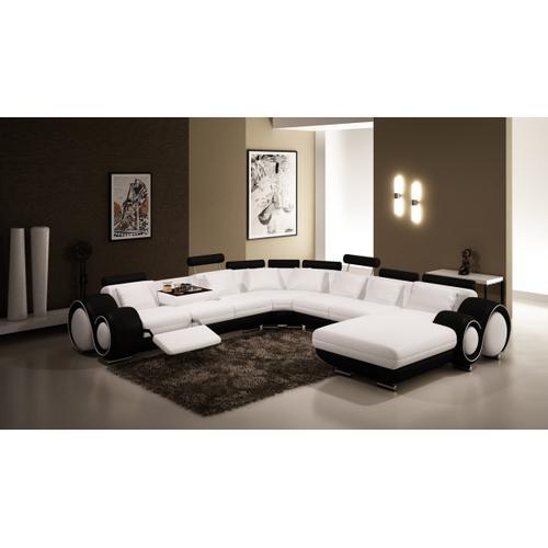 Divani Casa 4084 Black and White Leather Sectional Sofa
