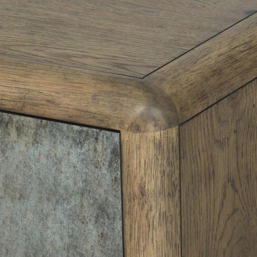 Metal Front Dark Oak Chairside