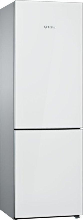 800 Series Free-standing fridge-freezer with freezer at bottom, glass door 23.5'' White B10CB81NVW
