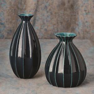 Fluted Cinched Vase-Ink-Fat