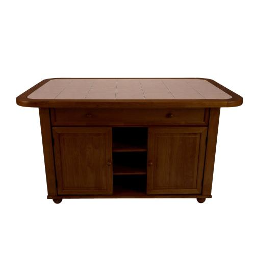 Kitchen Island with Terracotta Rose Tile Top - Nutmeg