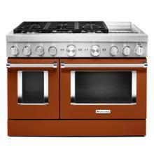KitchenAid® 48'' Smart Commercial-Style Dual Fuel Range with Griddle - Scorched Orange