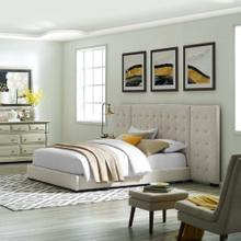 Sierra Queen Upholstered Fabric Platform Bed in Beige
