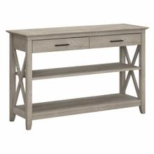 See Details - Console Table with Drawers and Shelves, Washed Gray