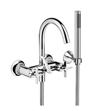 Tub mixer for wall-mounted installation with hand shower set - chrome Product Image