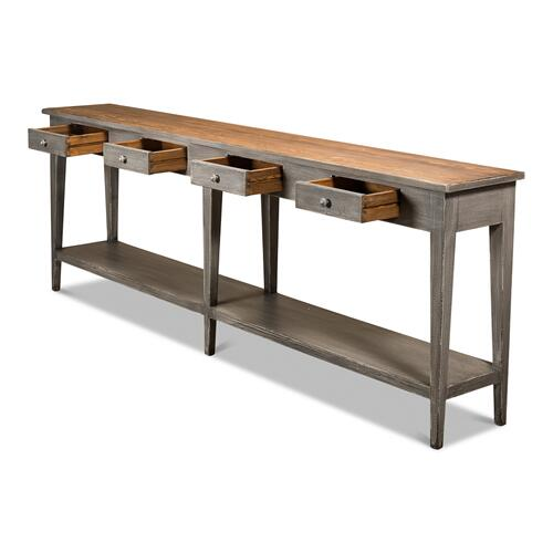Provincial Hall Table, Grey W/Natural Tp