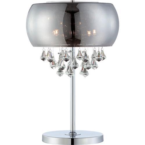 Table Lamp, Smoke Mirrored Glass/crystal, Type Jcd/g9 25wx4