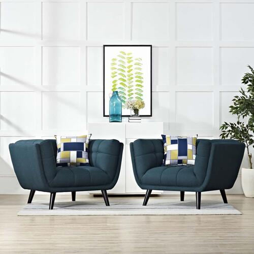 Bestow 2 Piece Upholstered Fabric Armchair Set in Blue