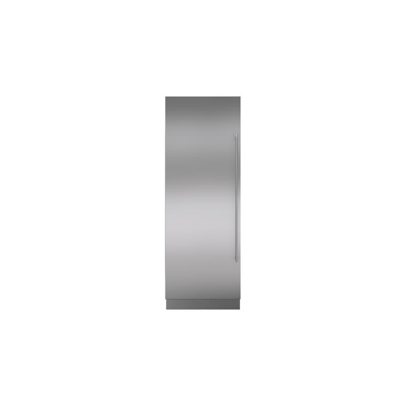 "Integrated Stainless Steel 30"" Column Door Panel with Tubular Handle - Left Hinge"