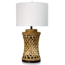 WATER HYANCINTH TABLE LAMP  17in w X 30.3in ht X 17in d  Natural Hyacinth Branches Base with White