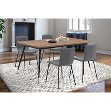 Messina and Gillian Grey Faux Leather and Walnut 5 Piece Dining Set