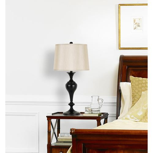 150W 3 Way Metal Table Lamp With Softback Fabric Shade. Sold And Packed As Pairs