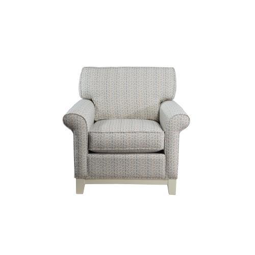 Upholstered Chair, Non Skirted. 5'' Plinth Base Available in Grey Wash, Cottage White, Royal Oak, Black Teak, White Teak, Vintage Smoke, Hampton Grey Finish.