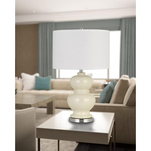 Bergamo Ceramic Table Lamp With Hardback White Fabric Shade (Sold And Priced As Pairs)