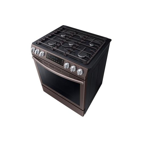 Samsung - 5.8 cu. ft. Slide-in Gas Range with Convection in Tuscan Stainless Steel