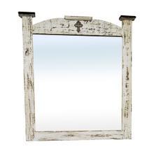 See Details - White Scraped Mirror Cross