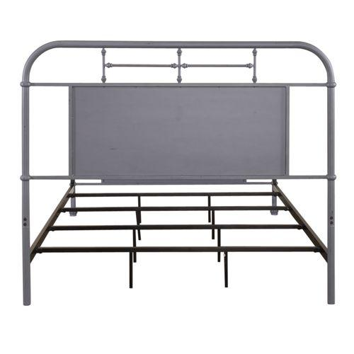 Queen Metal Bed - Grey