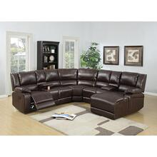 Arcelia 5pc Reclining/motion Home Theater Sofa Set, Brown-bonded-leather