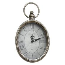 """6.75"""" X 1.75"""" X 11.75"""" Antique Silver Oval Wall Clock"""