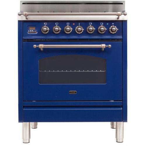 Ilve - Nostalgie 30 Inch Gas Liquid Propane Freestanding Range in Blue with Bronze Trim