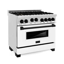 """See Details - ZLINE Autograph Edition 36"""" 4.6 cu. ft. Range with Gas Stove and Gas Oven in Stainless Steel with White Matte Door and Accents (RGZ-36) [Color: Matte Black]"""