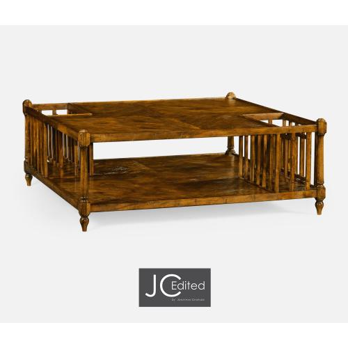 Country Walnut Square Coffee Table with Two Magazine Racks