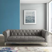 Idyll Tufted Button Upholstered Leather Chesterfield Sofa in Gray