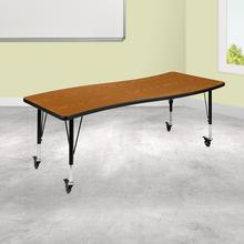 "Mobile 26""W x 60""L Rectangular Wave Collaborative Oak Thermal Laminate Activity Table - Height Adjustable Short Legs"