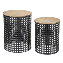 See Details - Woven Gunmetal Base Round Side Nested Table (2 pc. set)