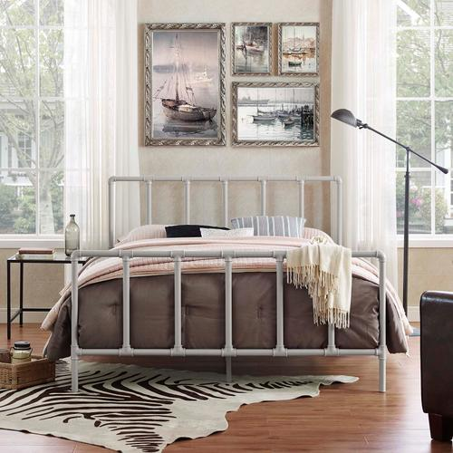 Modway - Dower Queen Stainless Steel Bed in Gray