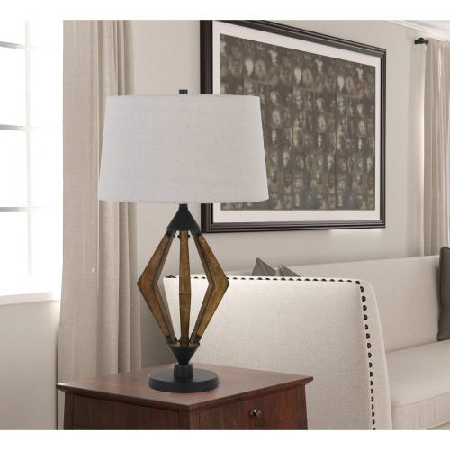 Valence 150W 3 Way Metal/Pine Wood Table Lamp