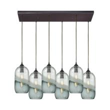 Sutter Creek 6-Light Rectangular Pendant Fixture in Oiled Bronze with Clear and Smoke Seedy Glass