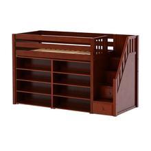 See Details - Mid Loft w/ Staircase, 8 Shelf Bookcase & 4-1/2 Drawer Dresser : Twin : Chestnut : Panel