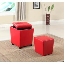 Fun Color 2 in 1 Storage Ottoman w/ Stool Bloody Red
