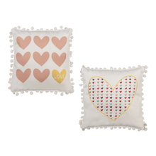 See Details - Heart Decorative Pillow with Pom Trim (4 pc. ppk.)