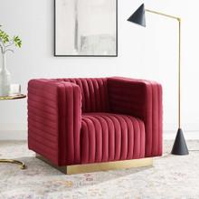Charisma Channel Tufted Performance Velvet Accent Armchair in Maroon