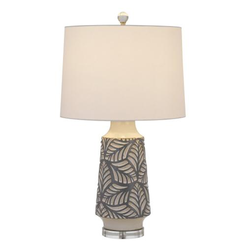 Cal Lighting & Accessories - 150W 3 way Burgin ceramic table lamp with crystal base and hardback tapper drum fabric shade